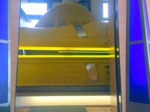Gelbe Hapro 620 mit Klimaanlage.